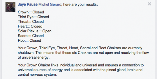 Six of my Seven Chakras are closed! ~ Michel Gerard Online