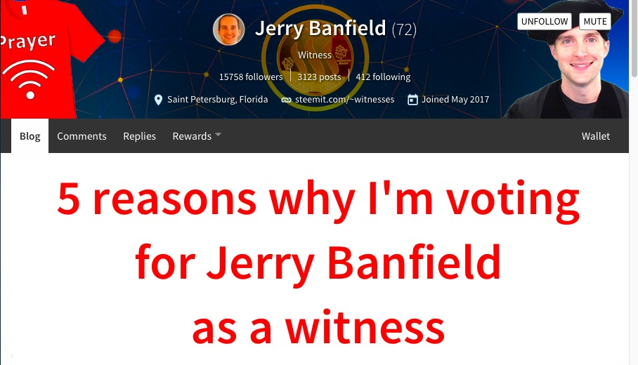 5 reasons to vote for Jerry Banfield as a witness
