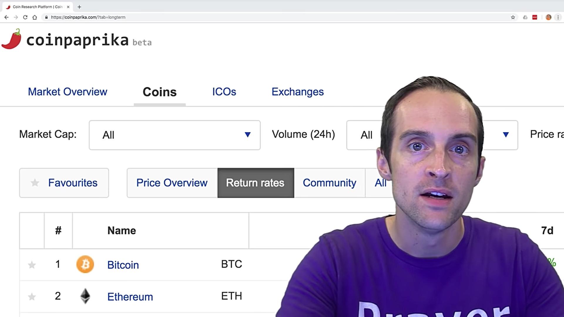 Return website of cryptocurrency